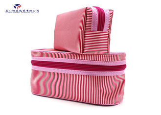 Light Weight Fabric Cosmetic Bag Small Women Handbag Deep Pink Color Oxford Lining