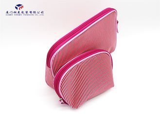 Modern Style Fabric Makeup Bag Pink White Stripe Satin Cloth Size 22X4.5X18cm
