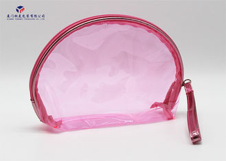 Semicircular Shape Soft PVC Bags Transparent Clear Pink Color Size 17X5.8X13cm