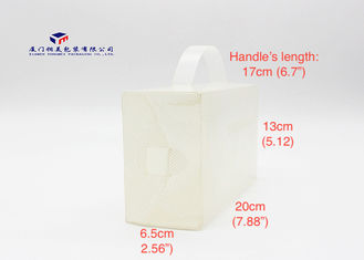 Twilled Stripe PP Packaging Box Milk White Color Handle On Box Top Two Ends Open