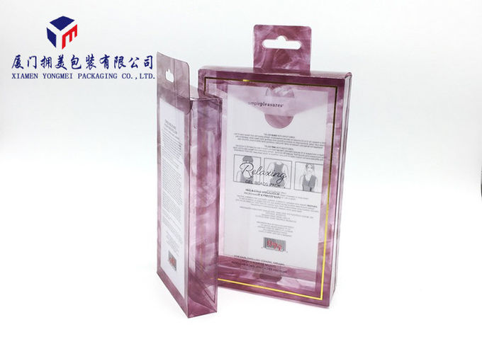 Rectangle PET Plastic Box Hang Strip On Top Of Box Offset Printing 22cm Height
